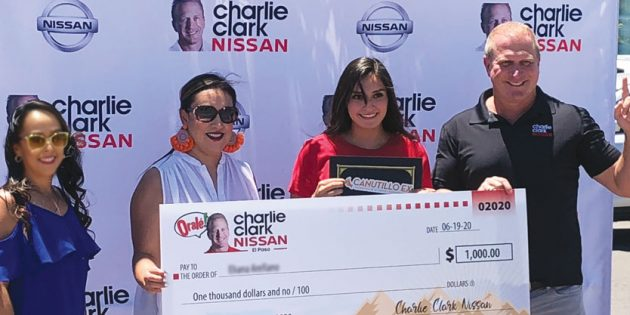 CHARLIE CLARK NISSAN EL PASO AND THE CANUTILLO ALUMNI FOUNDATION FOR EDUCATION HAS AWARDED SCHOLARSHIPS